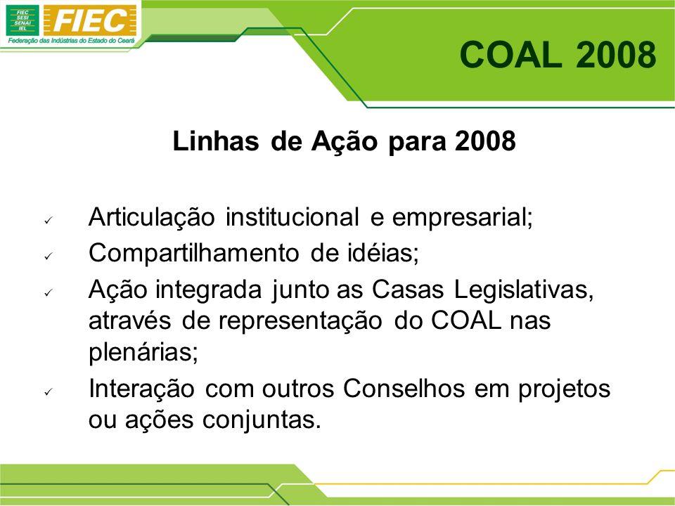 COAL 2008 Linhas de Ação para 2008