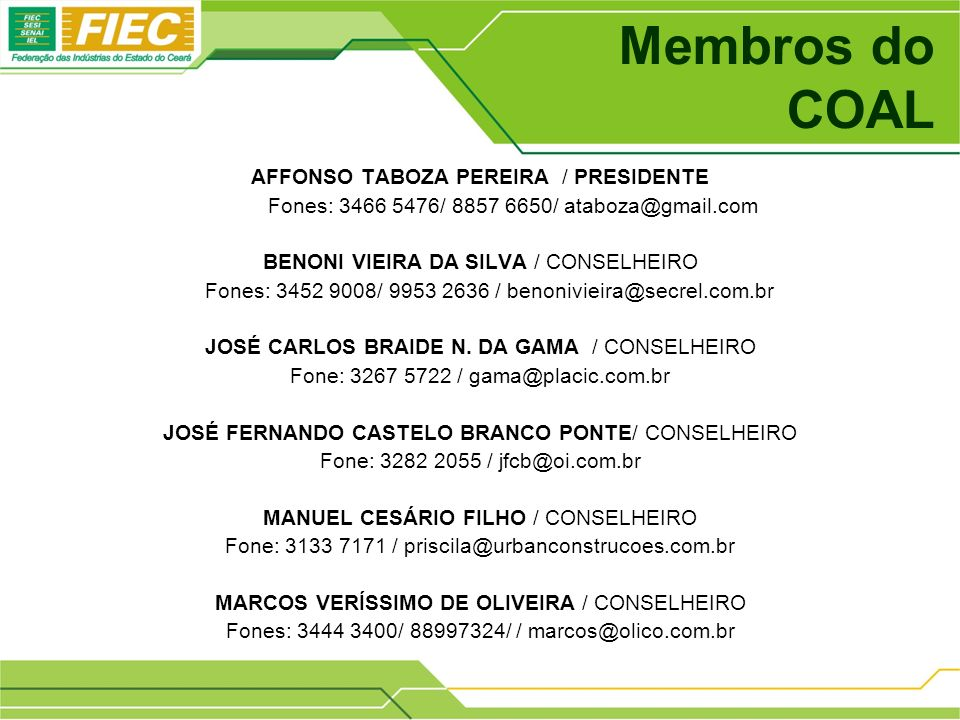 Membros do COAL AFFONSO TABOZA PEREIRA / PRESIDENTE