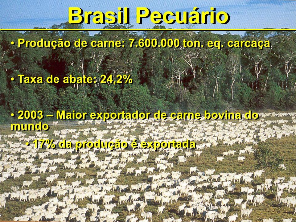 Brasil Pecuário Produção de carne: 7.600.000 ton. eq. carcaça