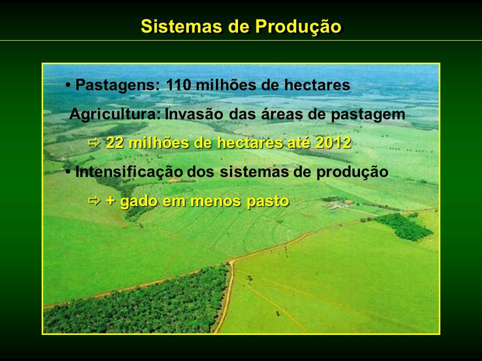 Sistemas de Produção • Pastagens: 110 milhões de hectares
