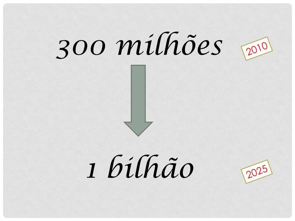 300 milhões 2010 1 bilhão 2025