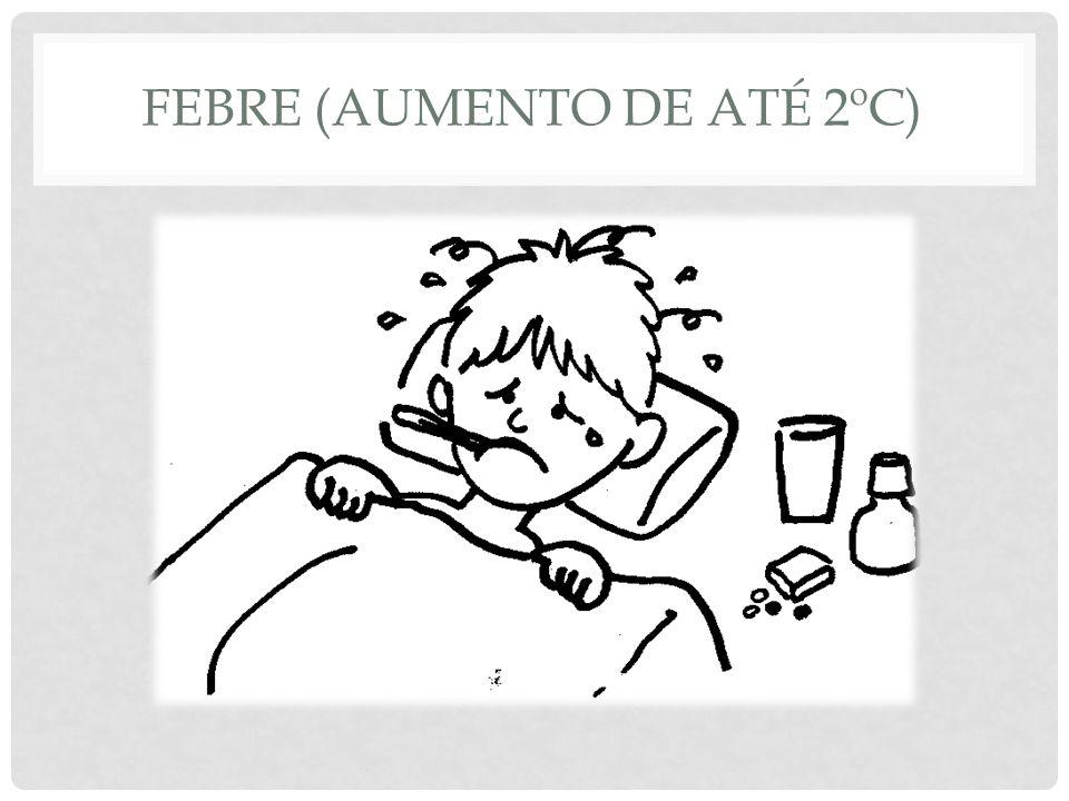 Febre (aumento de até 2ºC)