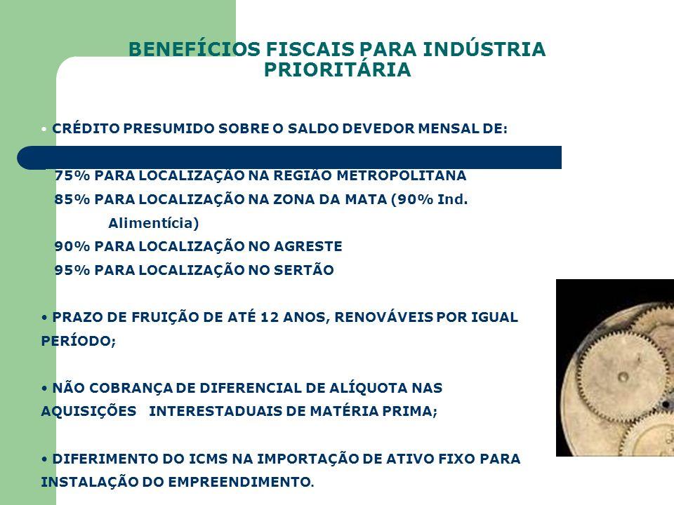 BENEFÍCIOS FISCAIS PARA INDÚSTRIA PRIORITÁRIA