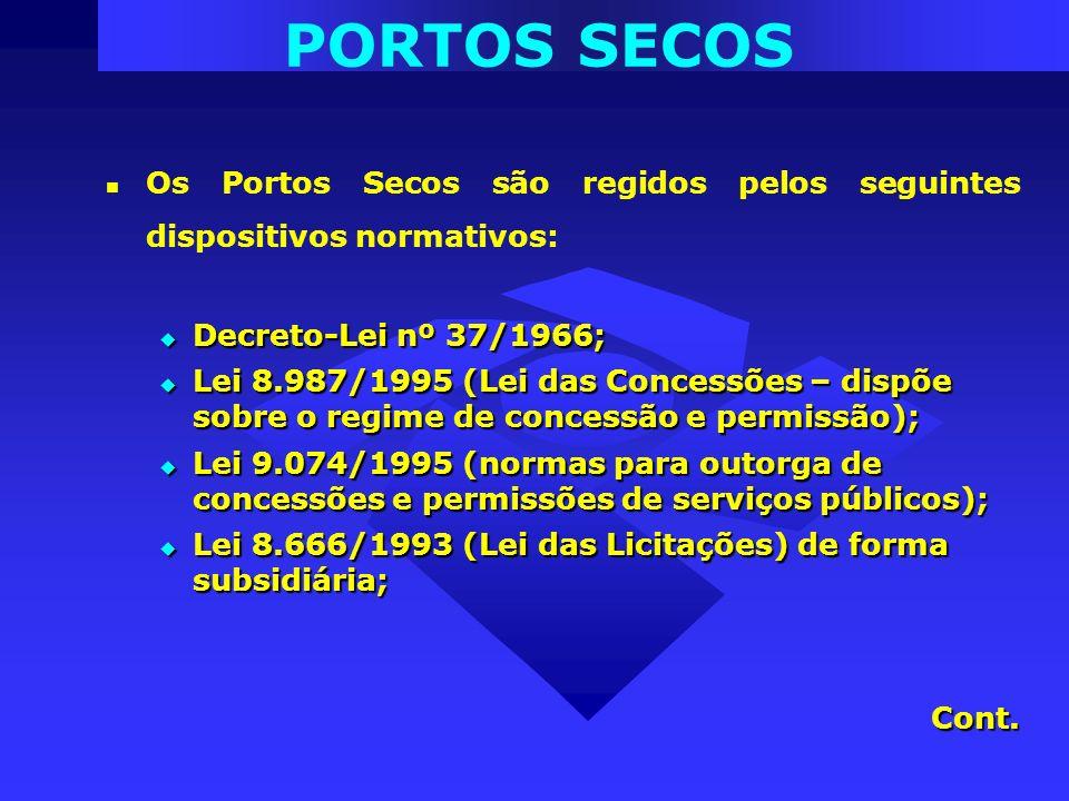 PORTOS SECOS Os Portos Secos são regidos pelos seguintes dispositivos normativos: Decreto-Lei nº 37/1966;