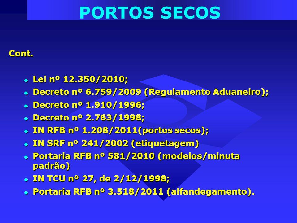 PORTOS SECOS Cont. Lei nº 12.350/2010;
