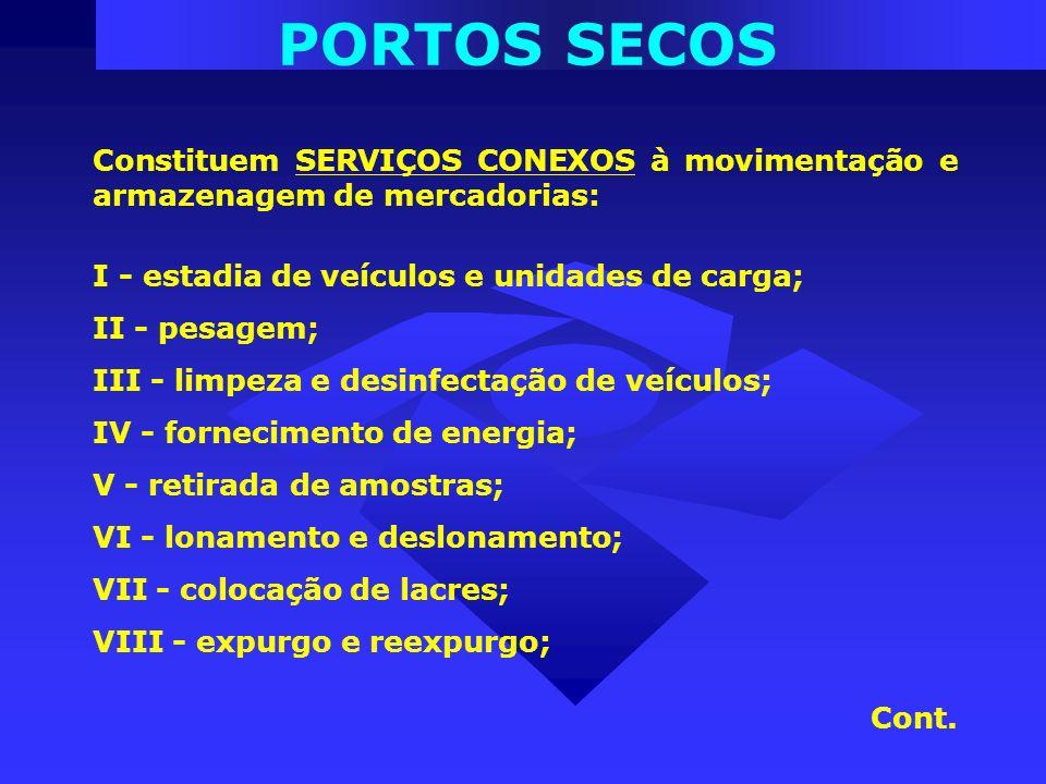 PORTOS SECOS Constituem SERVIÇOS CONEXOS à movimentação e armazenagem de mercadorias: I - estadia de veículos e unidades de carga;