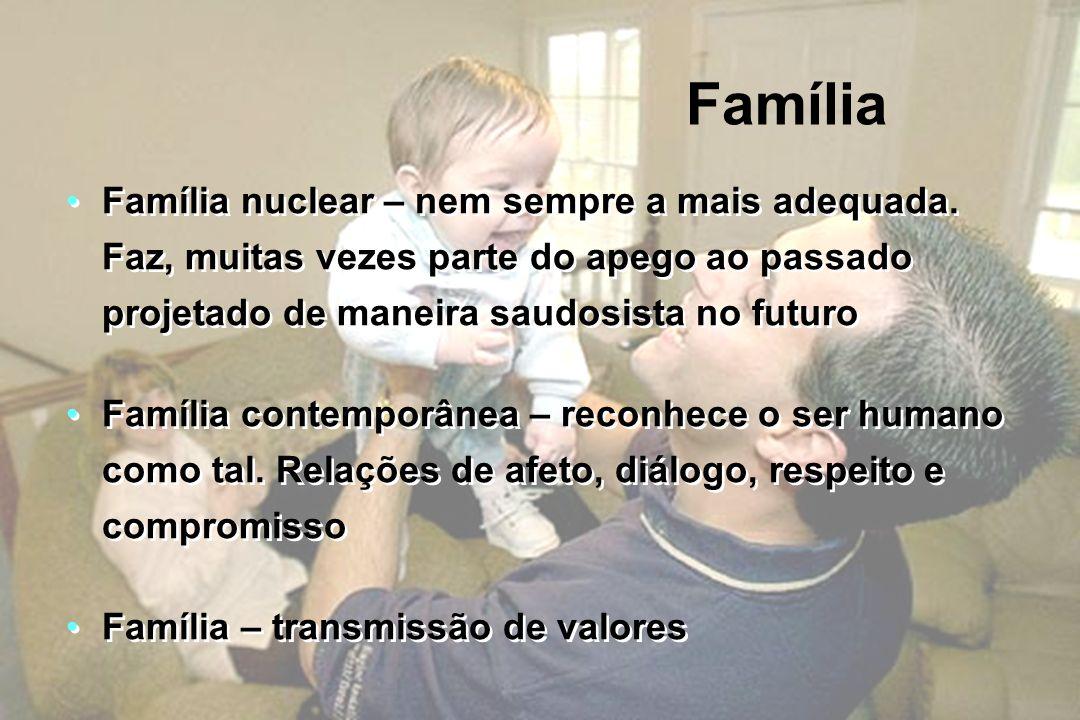 Família Família nuclear – nem sempre a mais adequada. Faz, muitas vezes parte do apego ao passado projetado de maneira saudosista no futuro.