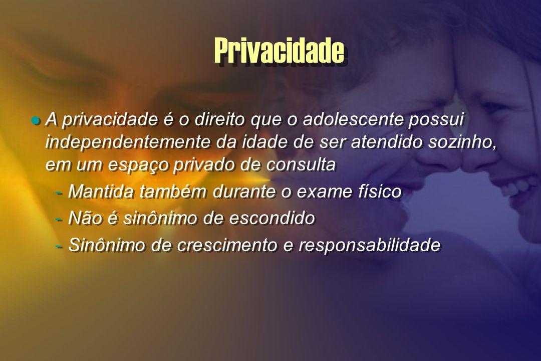 Privacidade A privacidade é o direito que o adolescente possui independentemente da idade de ser atendido sozinho, em um espaço privado de consulta.