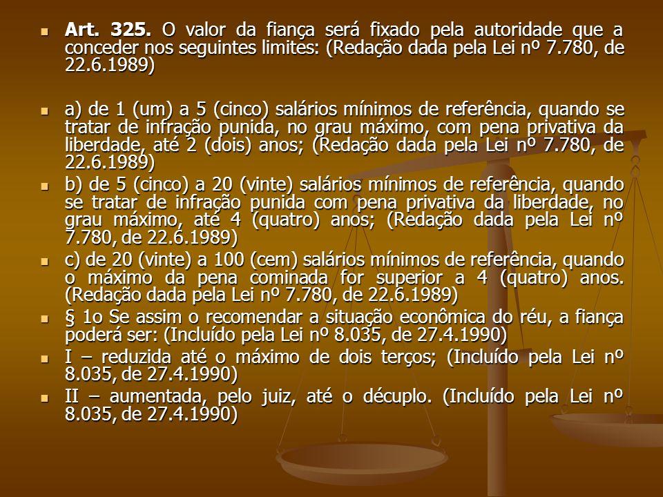 Art. 325. O valor da fiança será fixado pela autoridade que a conceder nos seguintes limites: (Redação dada pela Lei nº 7.780, de 22.6.1989)