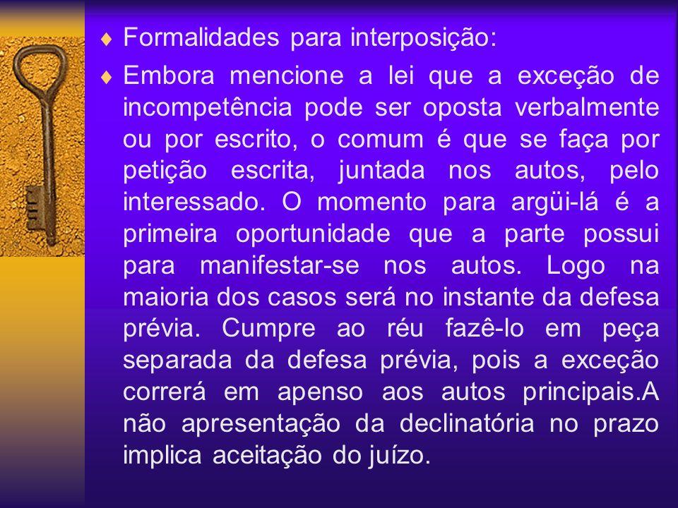 Formalidades para interposição: