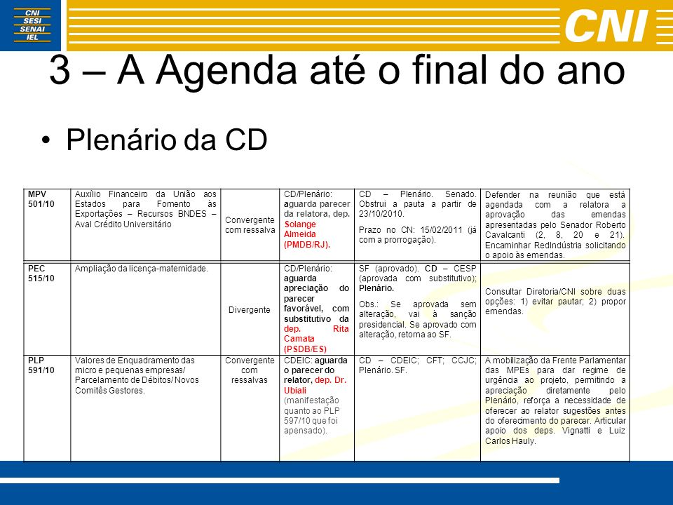 3 – A Agenda até o final do ano