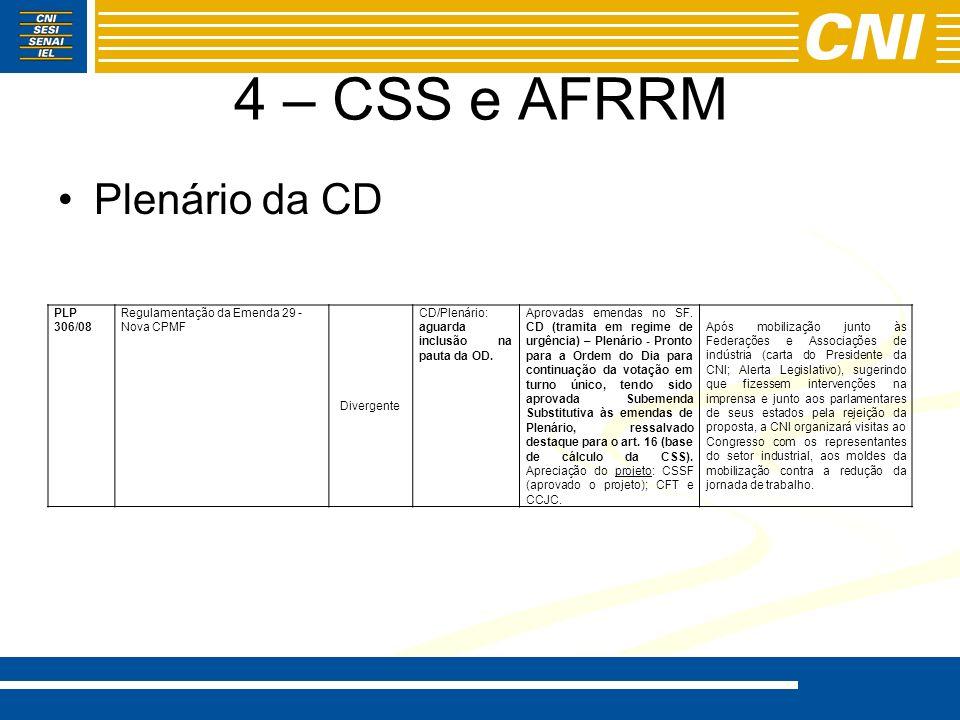4 – CSS e AFRRM Plenário da CD PLP 306/08