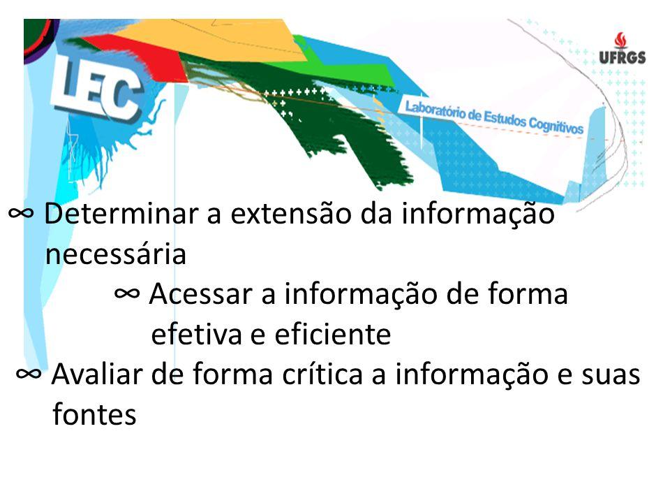 ∞ Determinar a extensão da informação