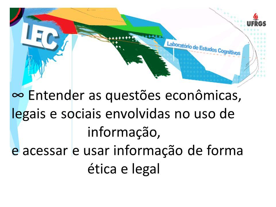 ∞ Entender as questões econômicas, legais e sociais envolvidas no uso de