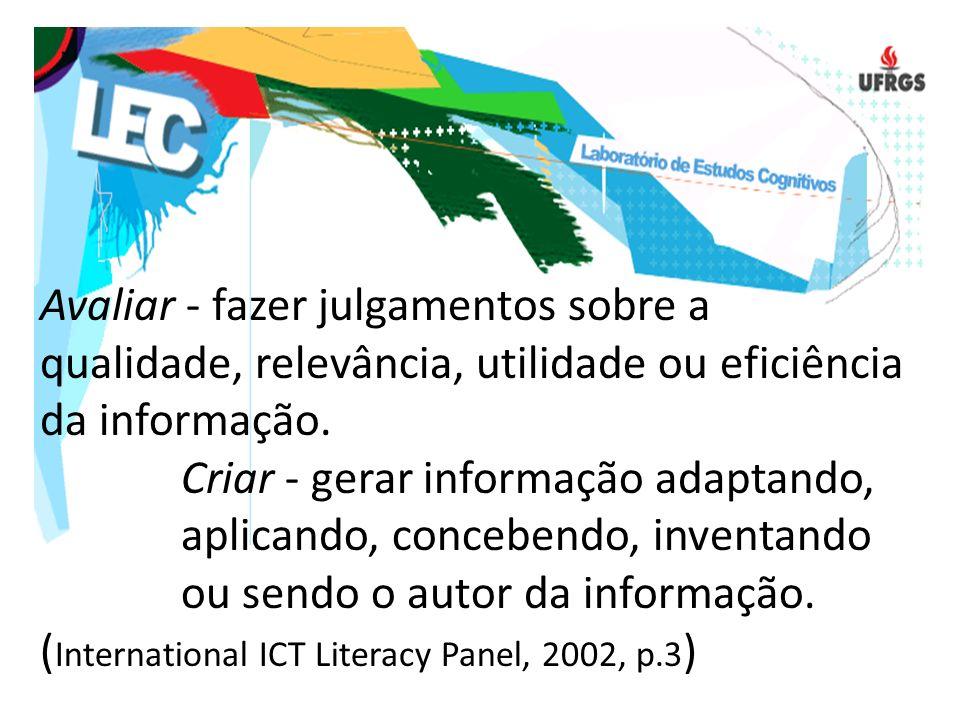 Avaliar - fazer julgamentos sobre a qualidade, relevância, utilidade ou eficiência da informação.