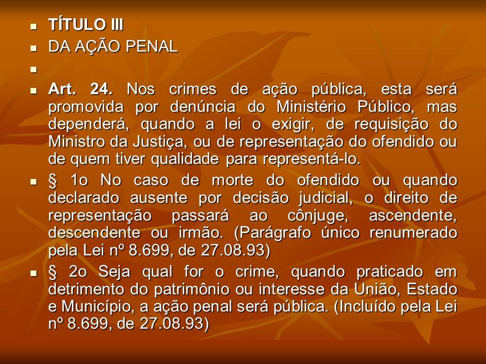 TÍTULO III DA AÇÃO PENAL.
