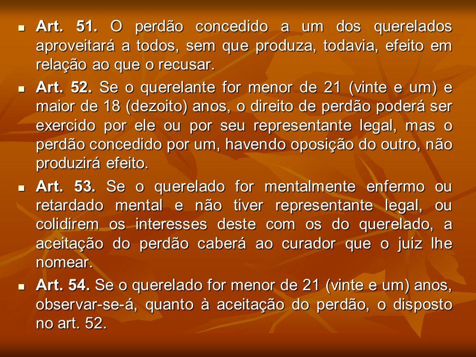 Art. 51. O perdão concedido a um dos querelados aproveitará a todos, sem que produza, todavia, efeito em relação ao que o recusar.