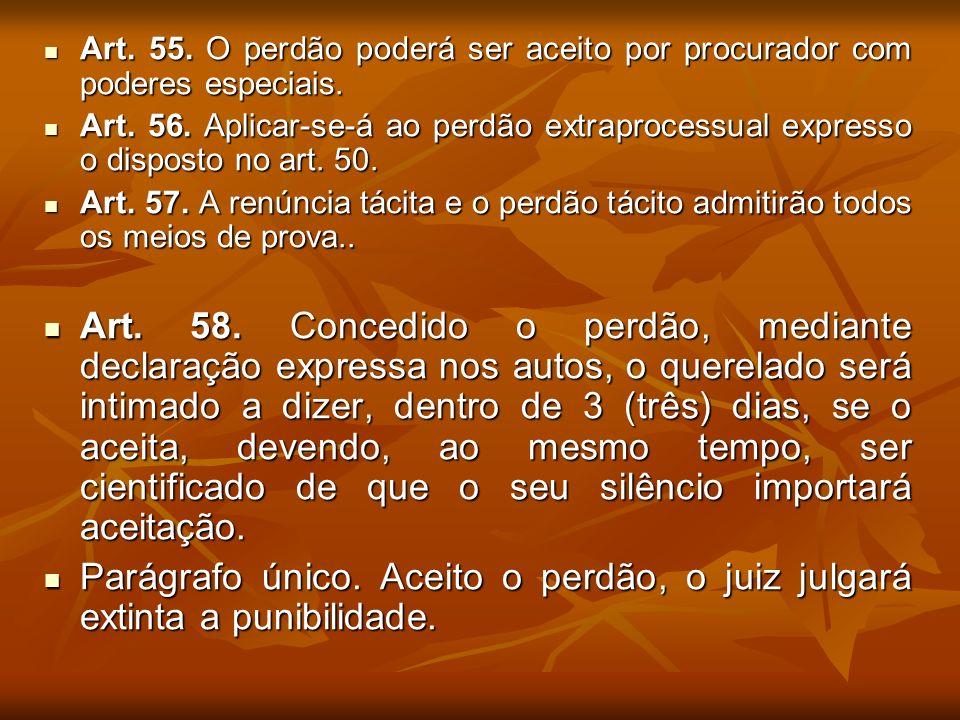 Art. 55. O perdão poderá ser aceito por procurador com poderes especiais.