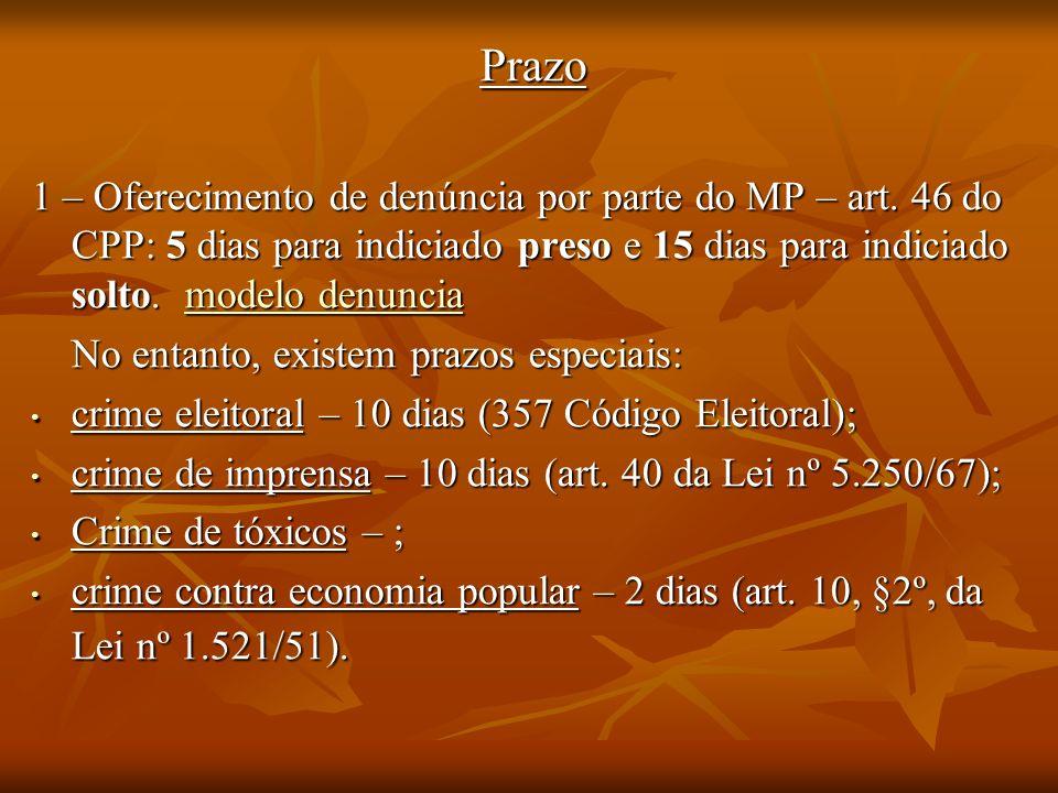 Prazo1 – Oferecimento de denúncia por parte do MP – art. 46 do CPP: 5 dias para indiciado preso e 15 dias para indiciado solto. modelo denuncia.