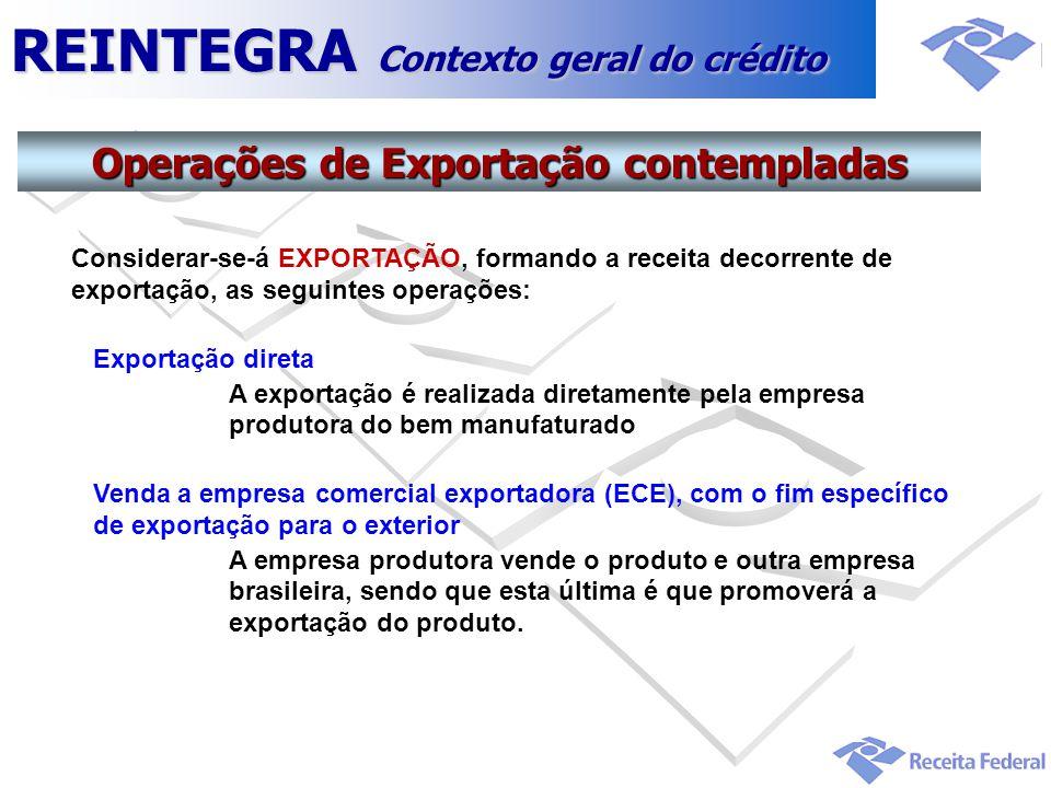 Operações de Exportação contempladas