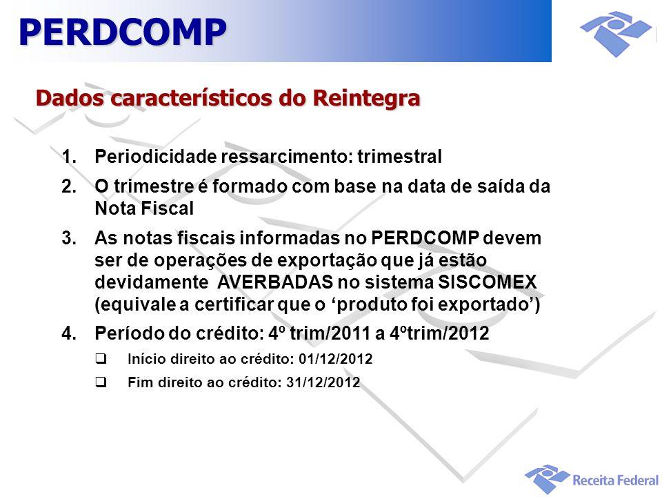 PERDCOMP Dados característicos do Reintegra
