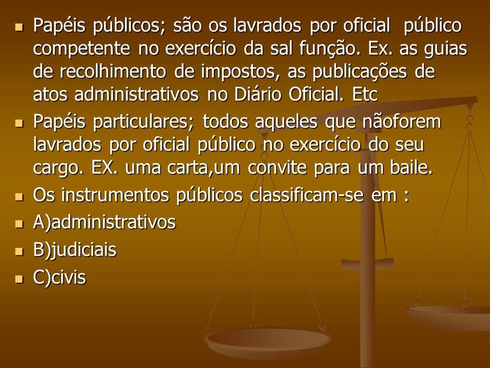 Papéis públicos; são os lavrados por oficial público competente no exercício da sal função. Ex. as guias de recolhimento de impostos, as publicações de atos administrativos no Diário Oficial. Etc
