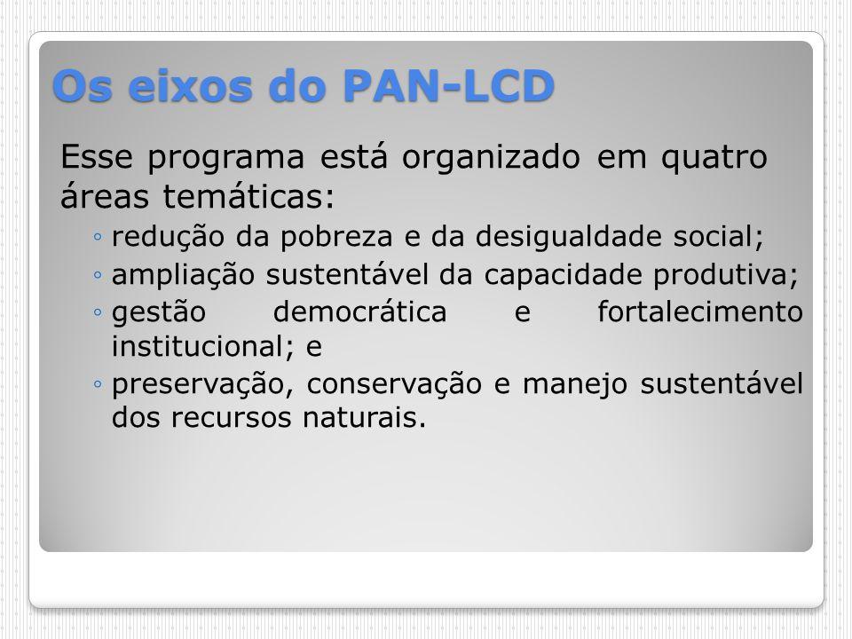 Os eixos do PAN-LCD Esse programa está organizado em quatro áreas temáticas: redução da pobreza e da desigualdade social;