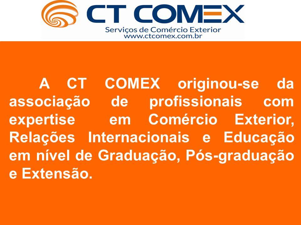 A CT COMEX originou-se da associação de profissionais com expertise em Comércio Exterior, Relações Internacionais e Educação em nível de Graduação, Pós-graduação e Extensão.