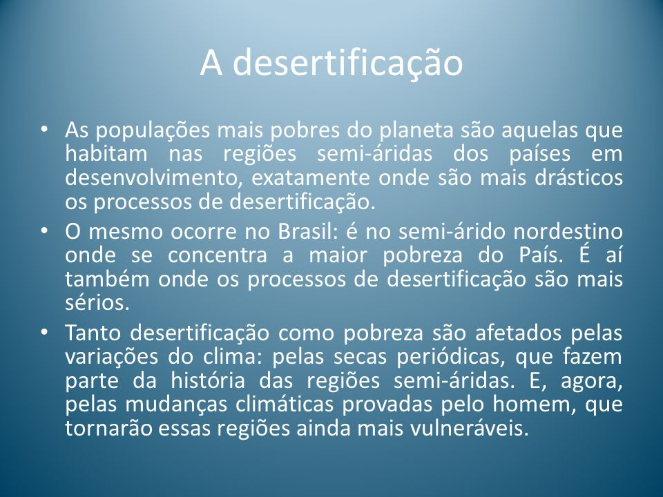 A desertificação