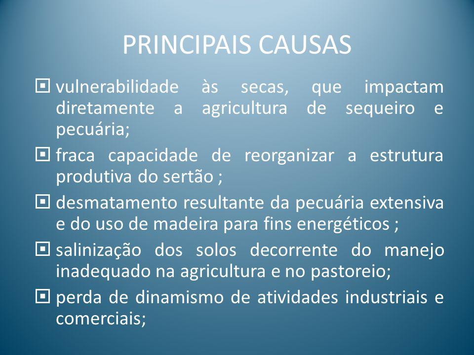 PRINCIPAIS CAUSAS vulnerabilidade às secas, que impactam diretamente a agricultura de sequeiro e pecuária;