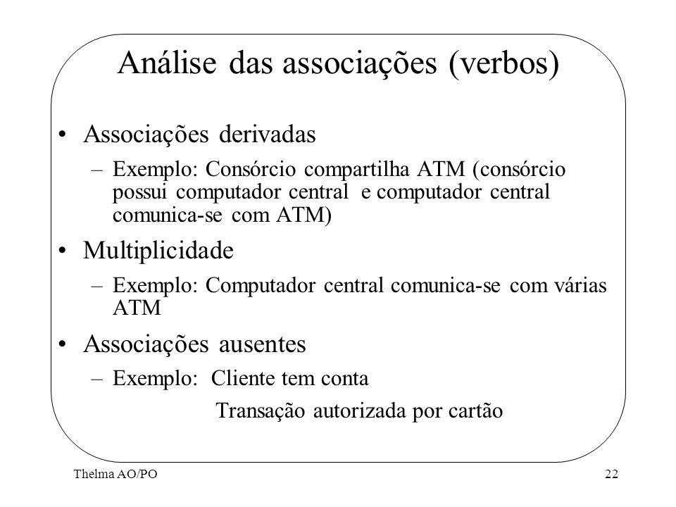 Análise das associações (verbos)