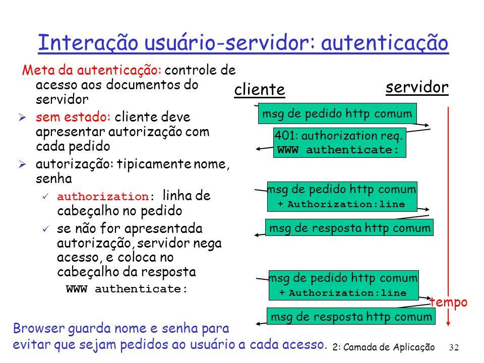 Interação usuário-servidor: autenticação