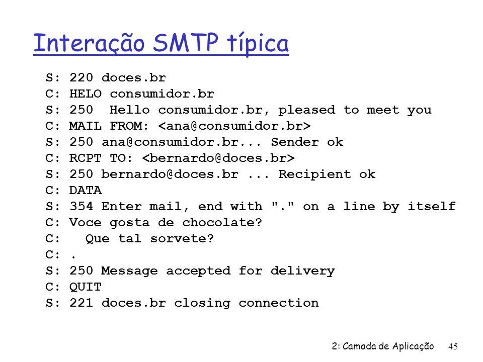 Interação SMTP típica S: 220 doces.br C: HELO consumidor.br