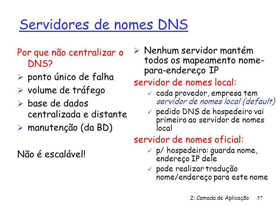 Servidores de nomes DNS