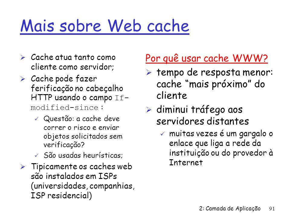 Mais sobre Web cache Por quê usar cache WWW