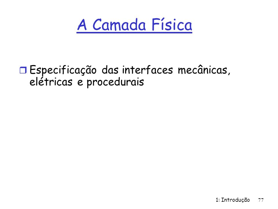 A Camada Física Especificação das interfaces mecânicas, elétricas e procedurais 1: Introdução