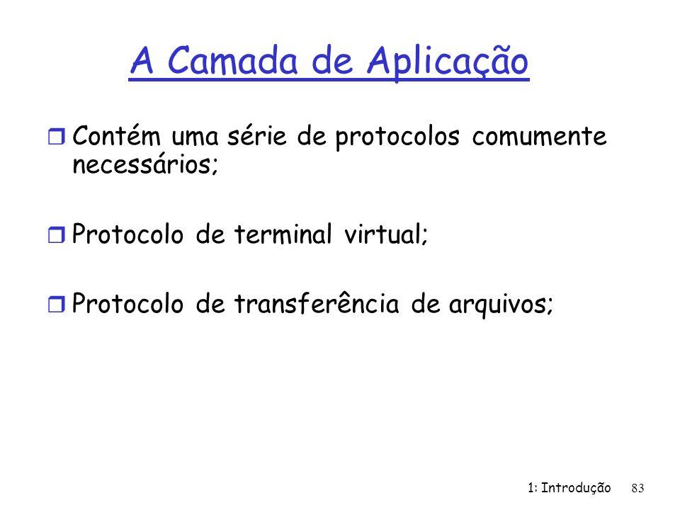 A Camada de Aplicação Contém uma série de protocolos comumente necessários; Protocolo de terminal virtual;