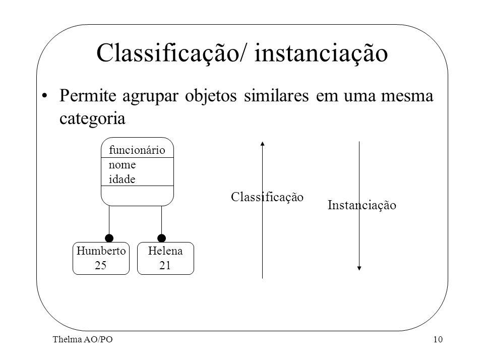 Classificação/ instanciação