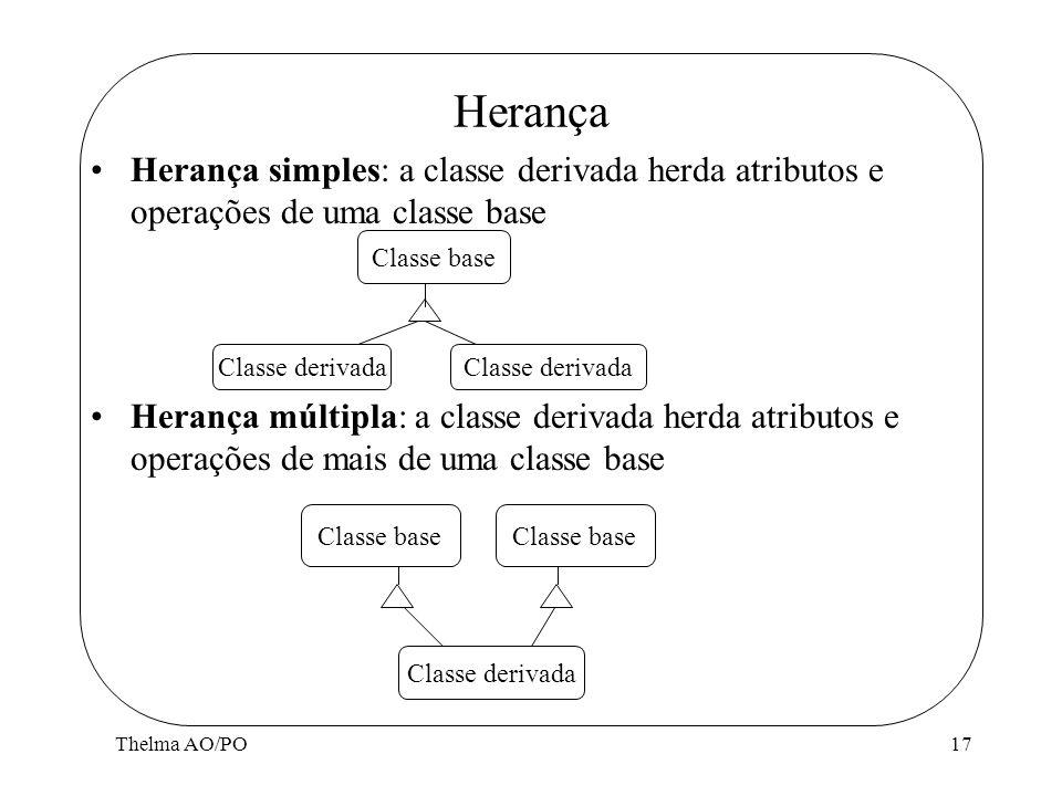 Herança Herança simples: a classe derivada herda atributos e operações de uma classe base.