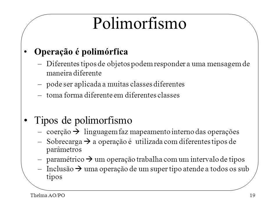 Polimorfismo Tipos de polimorfismo Operação é polimórfica