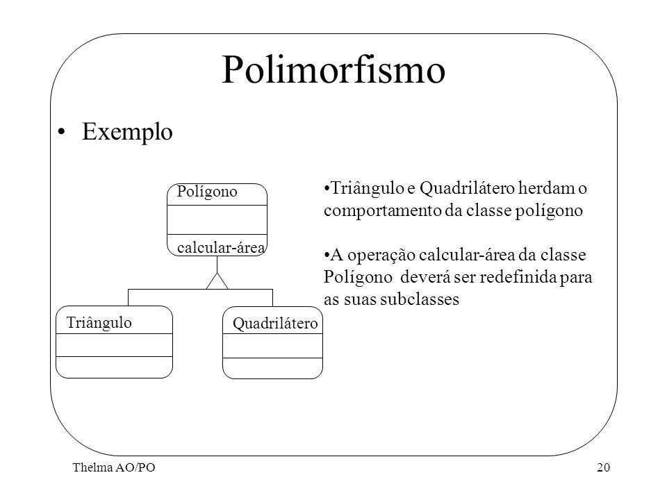 Polimorfismo Exemplo. Triângulo e Quadrilátero herdam o comportamento da classe polígono.