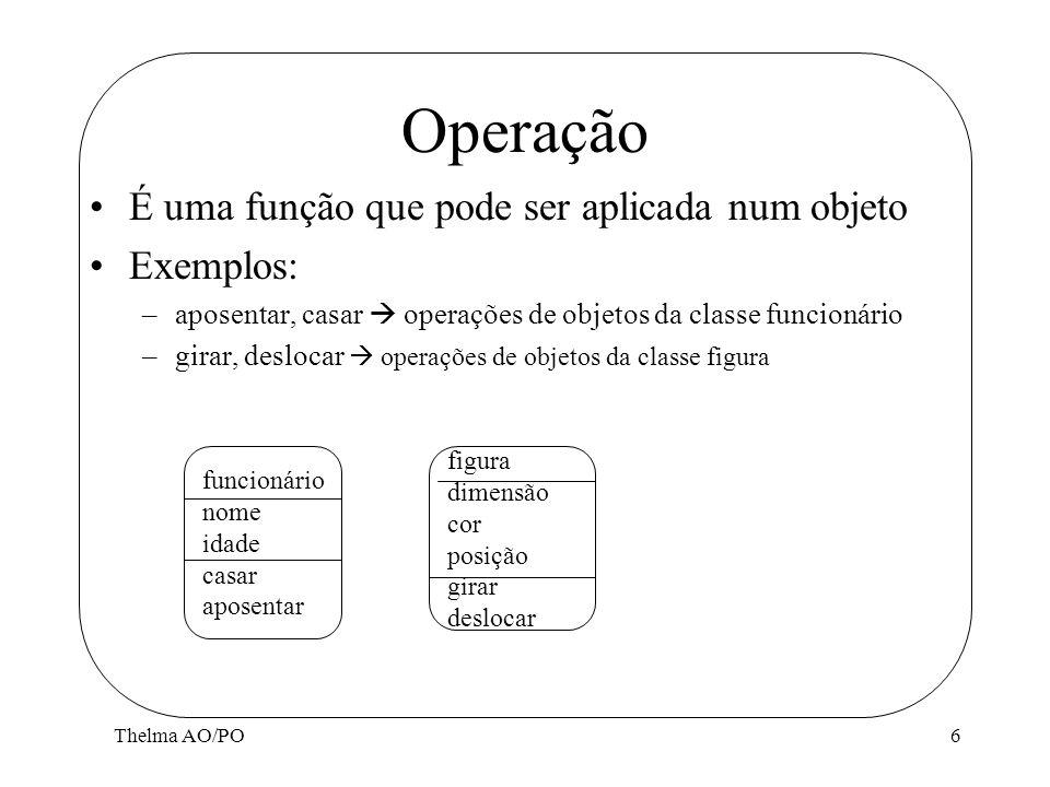 Operação É uma função que pode ser aplicada num objeto Exemplos: