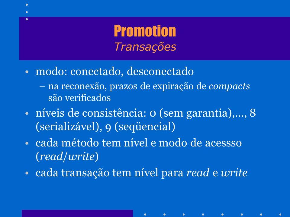 Promotion Transações modo: conectado, desconectado