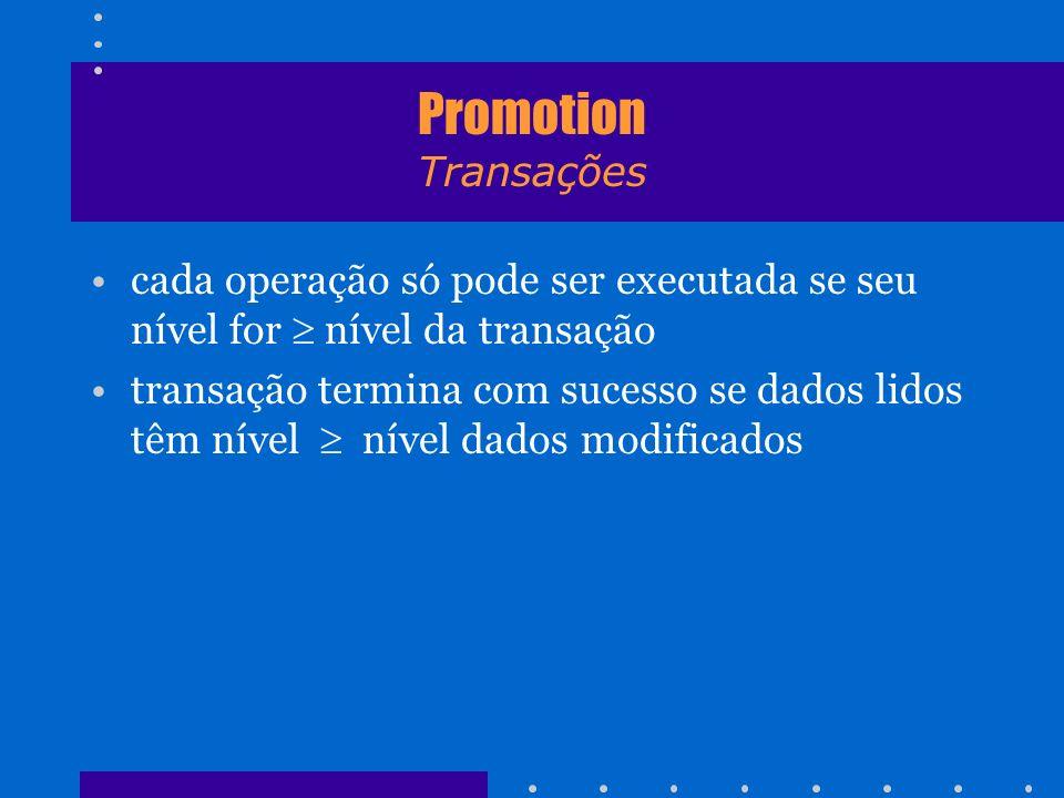 Promotion Transações cada operação só pode ser executada se seu nível for  nível da transação.