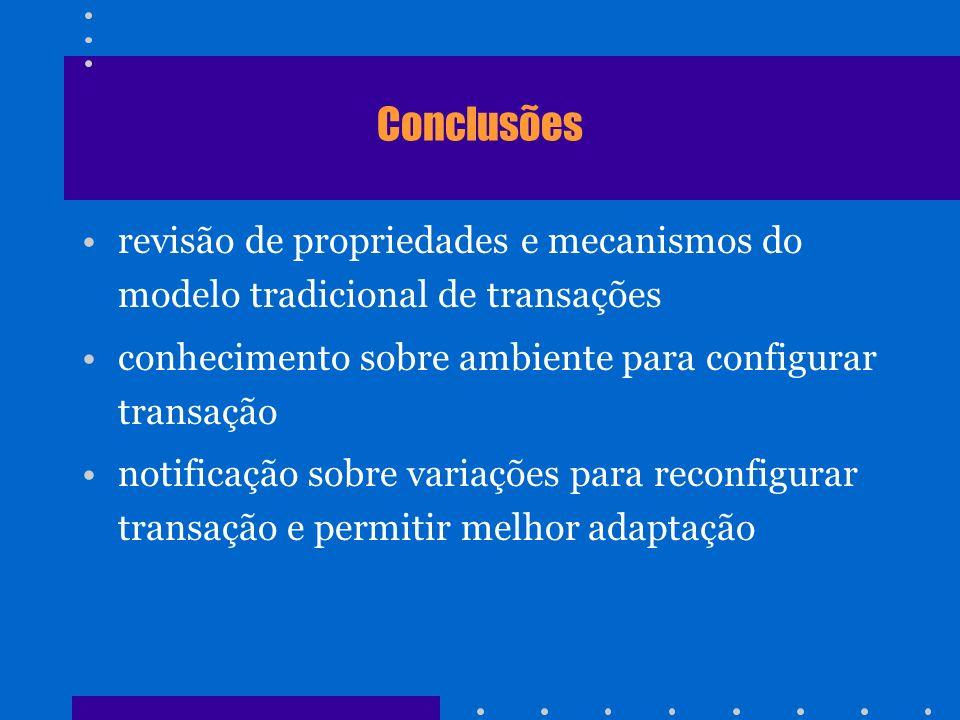 Conclusões revisão de propriedades e mecanismos do modelo tradicional de transações. conhecimento sobre ambiente para configurar transação.