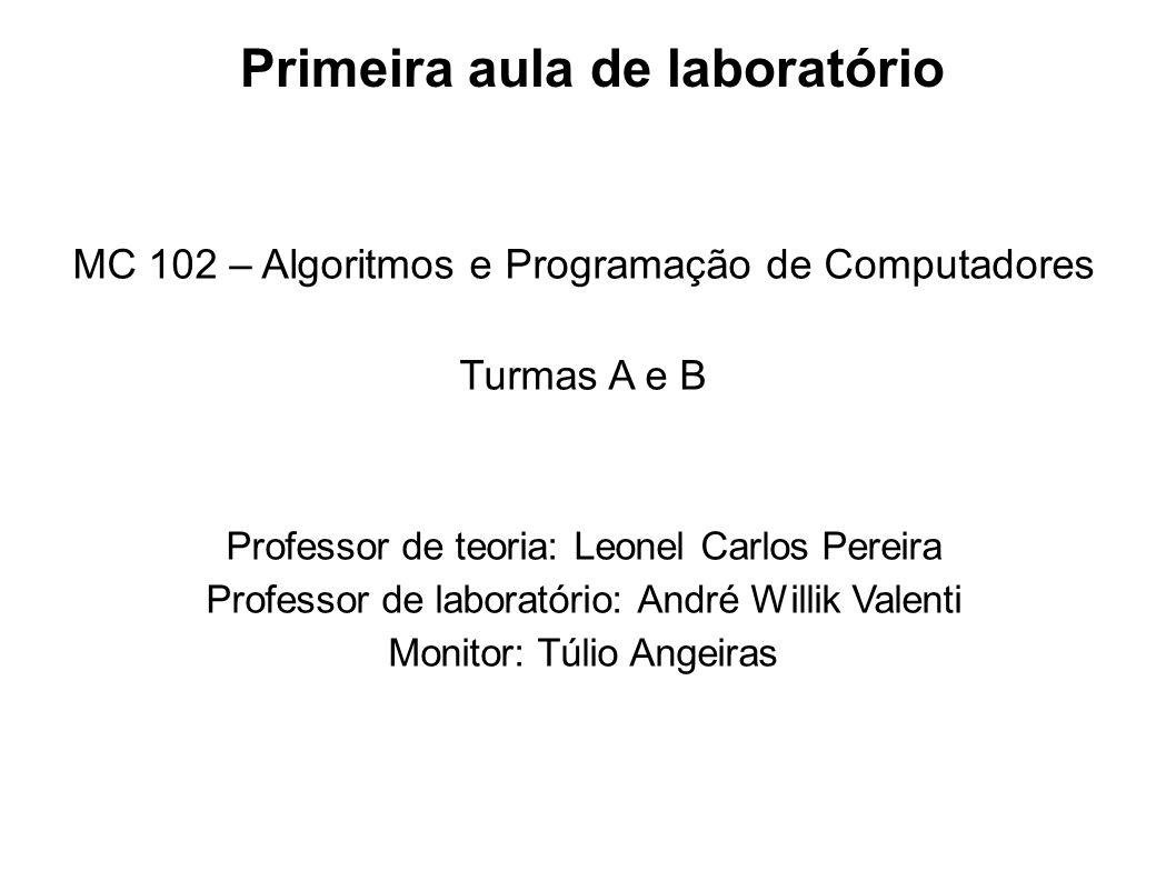 Primeira aula de laboratório