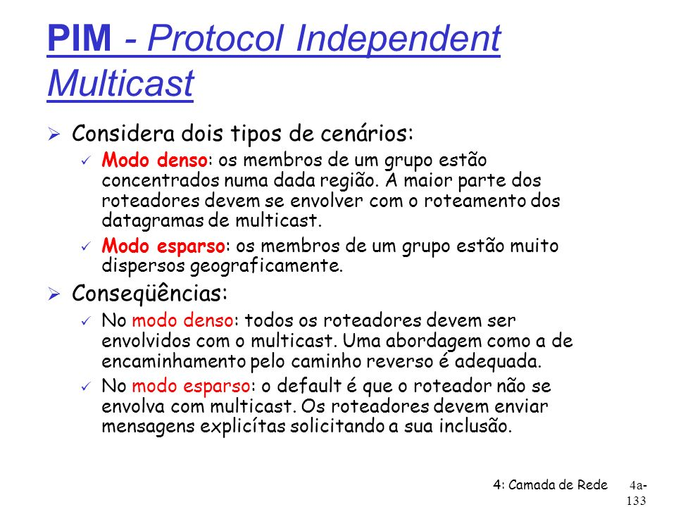 PIM - Protocol Independent Multicast