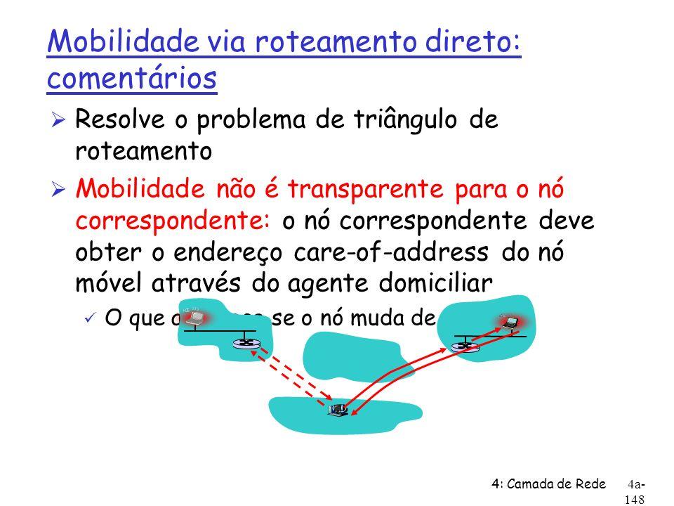 Mobilidade via roteamento direto: comentários