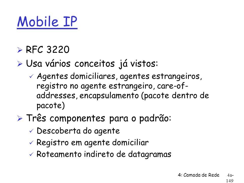 Mobile IP RFC 3220 Usa vários conceitos já vistos: