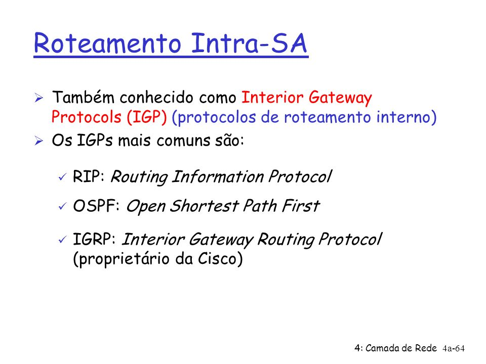 Roteamento Intra-SA Também conhecido como Interior Gateway Protocols (IGP) (protocolos de roteamento interno)